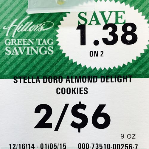 Sale price tag for cookies