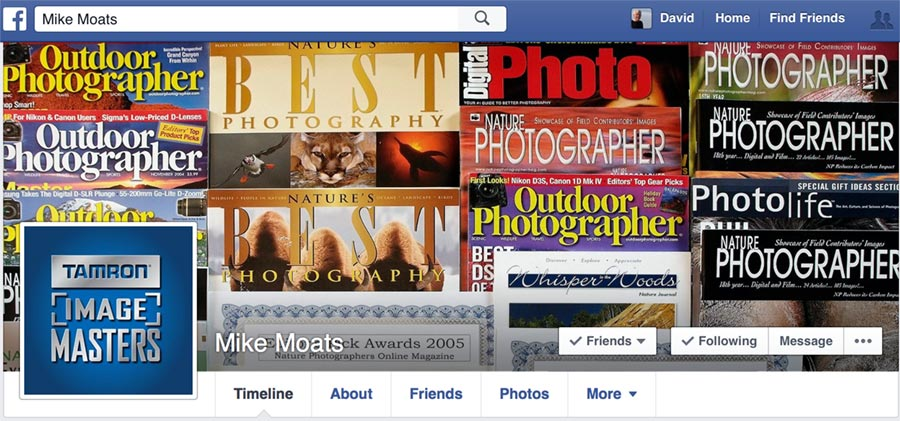 Facebook page for Photographer Mike Moats